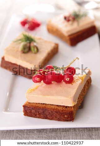 appetizer, foie gras and gingerbread - stock photo