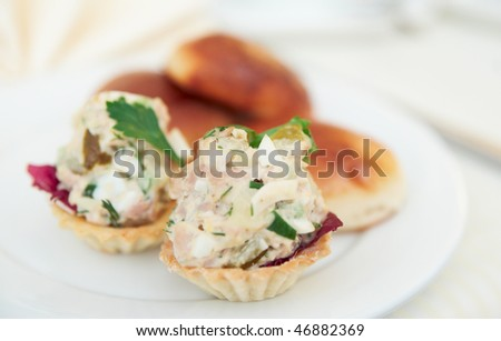 Appetizer in tartlets and patties on plate, shallow focus depth - stock photo