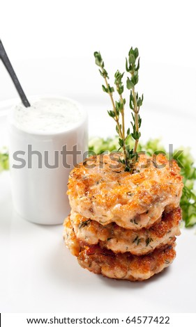 Appetizer - Mini Salmon Steak with Cucumber Fresh - stock photo