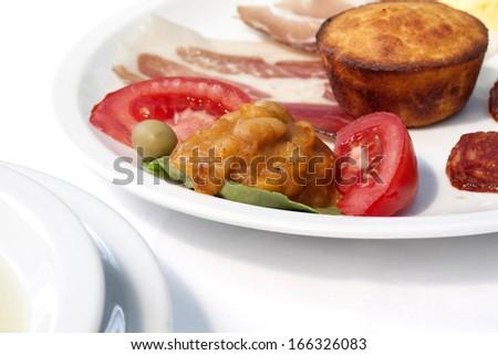 appetizer with sausage, cream cheese cornbread - stock photo