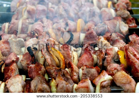 appetizing barbecue with great pieces of meat on the fire - stock photo