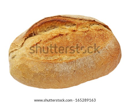 Appetizing crunchy crust bread isolated on white background. - stock photo