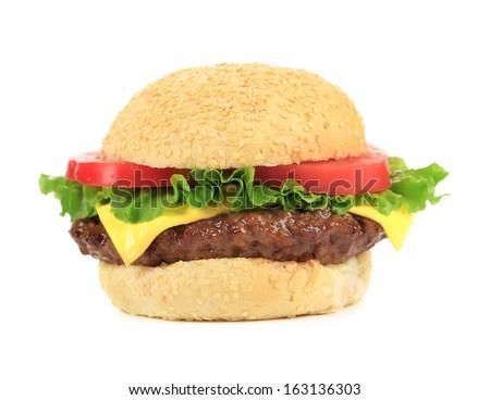Appetizing fast food hamburger. Isolated on a white background. - stock photo
