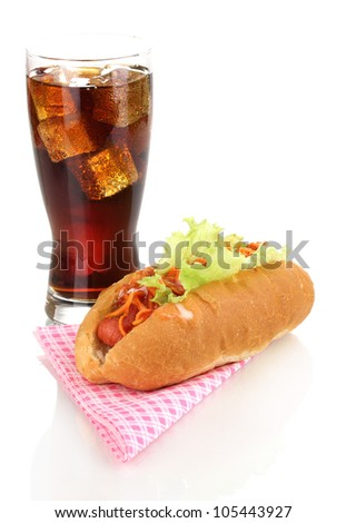 Appetizing hot dog and cola isolated on white - stock photo