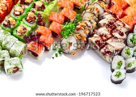 Appetizing Japanese sushi isolated on a white background - stock photo