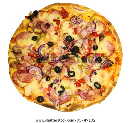appetizing round pizza with bacon salami and onions - stock photo