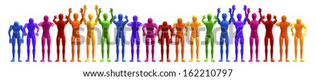 applauding, colorful line of people, figures forming a wave, frontal, 3d rendering isolated on white background - stock photo