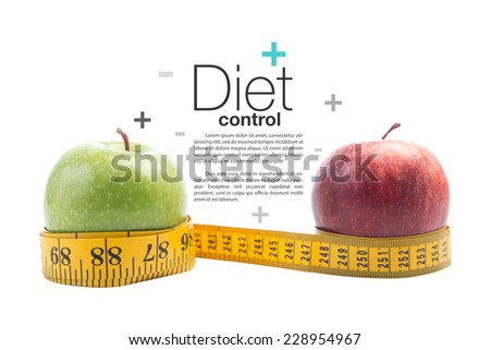 apple and a measuring tape isolated on white background with clipping path , healthy diet concept.  - stock photo