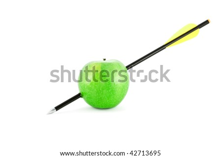 Apple and arrow isolated on white - stock photo