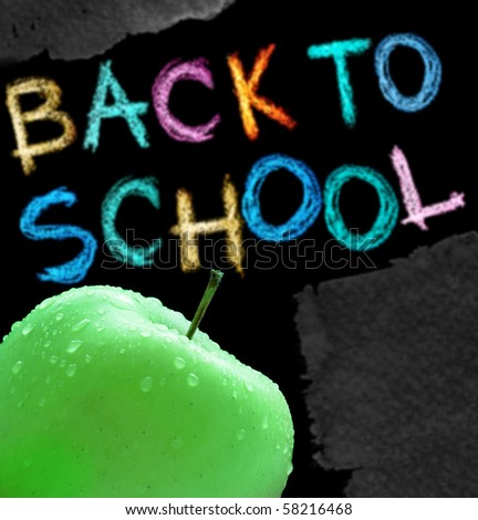 Apple and back to school text - stock photo