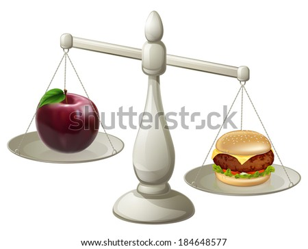 Apple and burger on scales. Healthy eating willpower concept, stocking to a diet can be hard, the burger is looking more appealing than the apple - stock photo