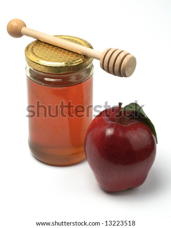 Apple and honey, isolated (Rosh HaShana jewish food) - stock photo