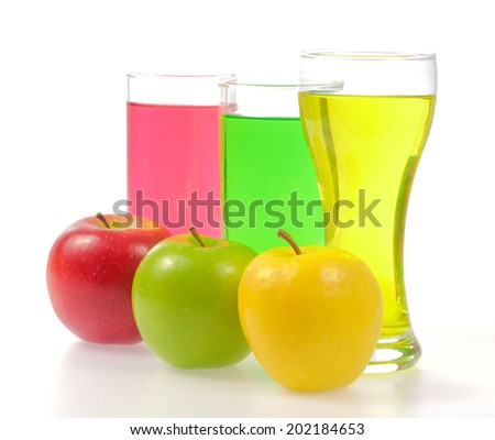 apple and juice glass isolated on white background - stock photo