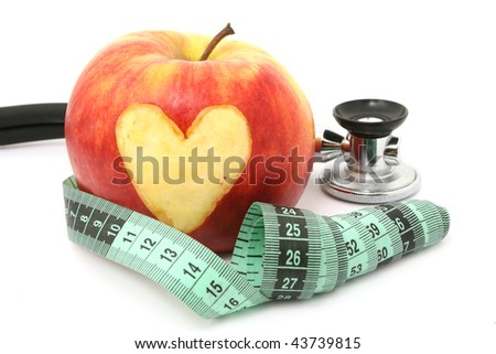 apple and meter - stock photo