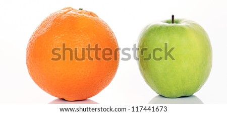 Apple and Orange isolated on white, panoramic picture - stock photo