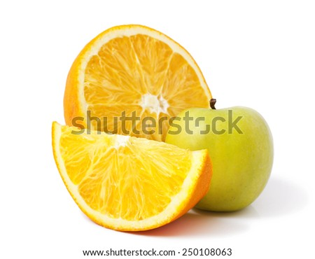 Apple and oranges isolated on white background - stock photo