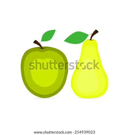 apple and pear icons - stock photo
