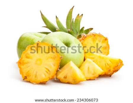 apple and pineapple isolated - stock photo
