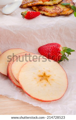 Apple and potato pancakes - stock photo
