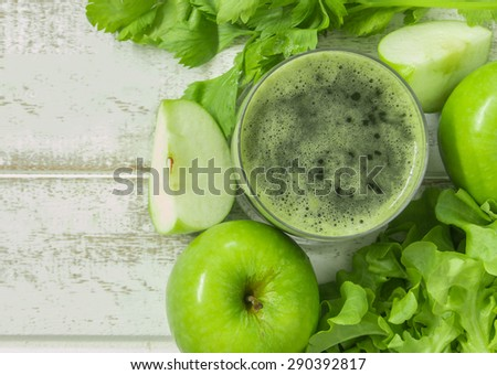 apple and vegetable smoothie  for health. top view. - stock photo