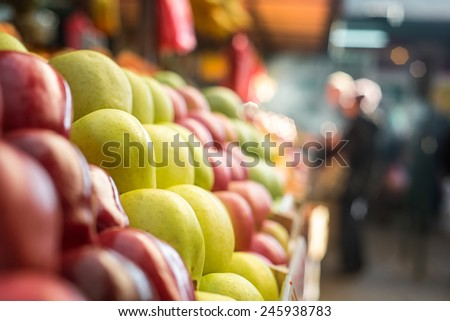 Apple at marketplace. - stock photo