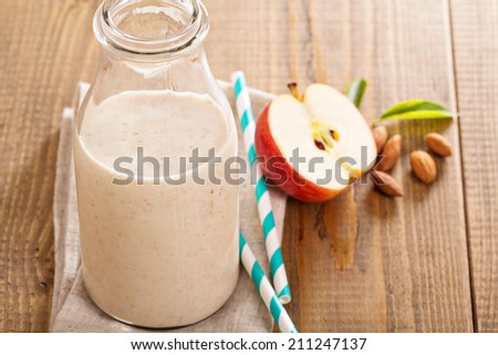 Apple Banana Cinnamon Smoothie in a bottle - stock photo