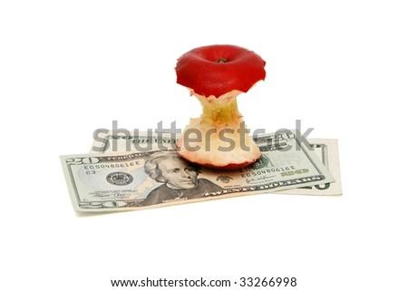 Apple bit on twenty dollar bills isolated - stock photo