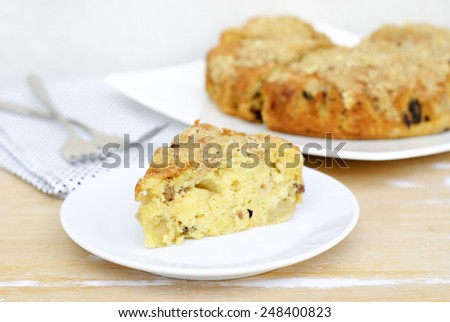 apple cake with streusel.  - stock photo