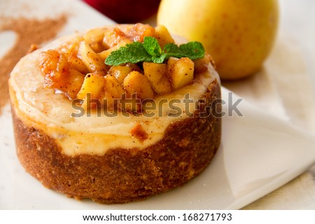 Apple cheesecake with caramel apples sauce - stock photo