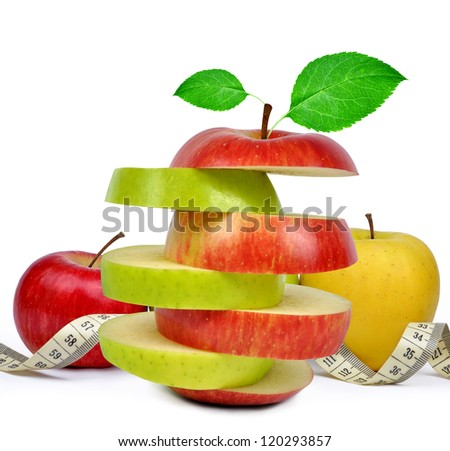 apple collection with measuring tape isolated - stock photo