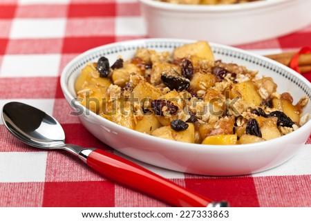 Apple Crumble Dessert. Selective focus. - stock photo