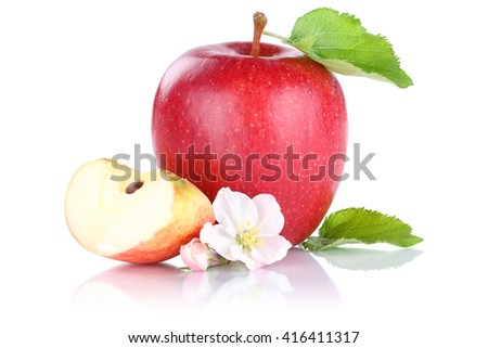 Apple fruit red slice isolated on a white background - stock photo