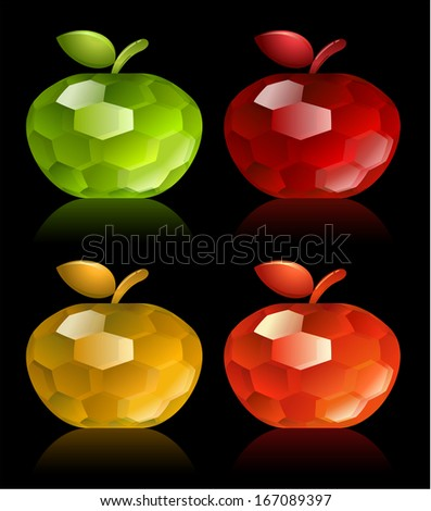 Apple gemstones collection - raster version - stock photo