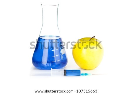 Apple genetically modified against a white background - stock photo