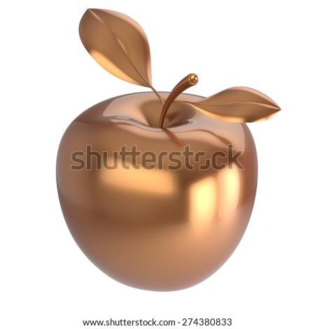 Apple gold ripe fruit nutrition antioxidant fresh fruit exotic agriculture icon luxury golden. 3d render isolated on white background - stock photo