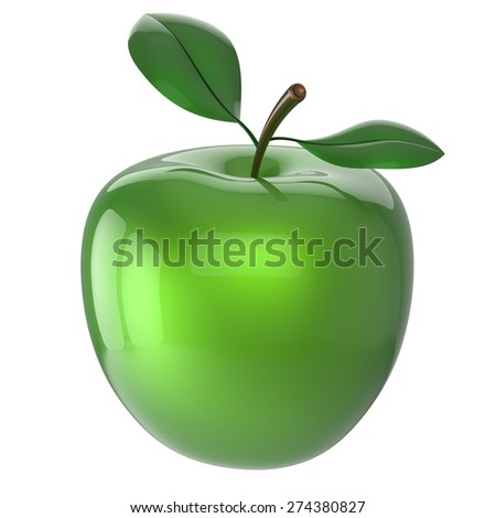 Apple green ripe fruit nutrition antioxidant fresh fruit exotic agriculture icon. 3d render isolated on white background - stock photo