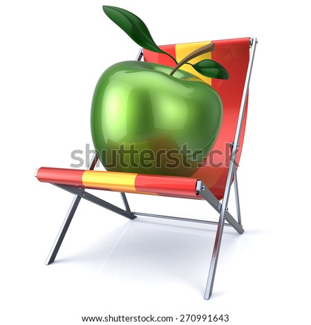 Apple green sitting in beach chair. Beauty healthy fresh food fruit diet summer open air nutrition vegetarian relax concept. 3d render isolated on white - stock photo
