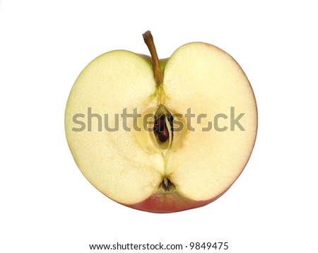 Apple half isolated over a white background - stock photo
