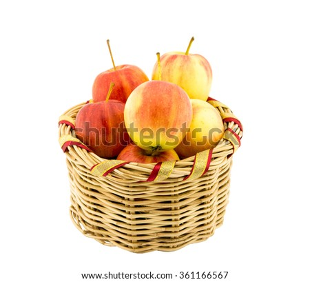 apple in basket on white - stock photo