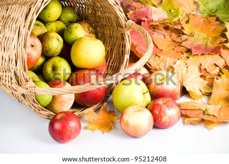 Apple in basket, scattering on white background - stock photo