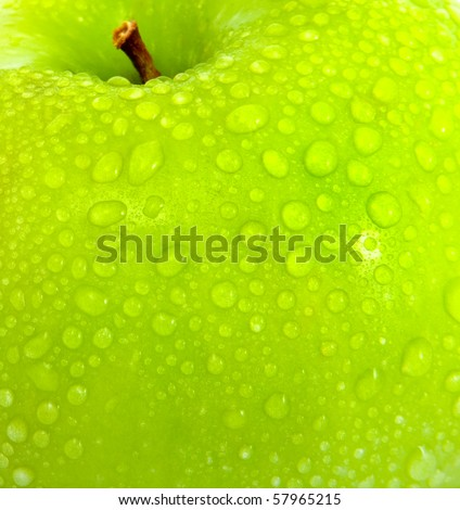 apple in green with water drops on its surface - stock photo