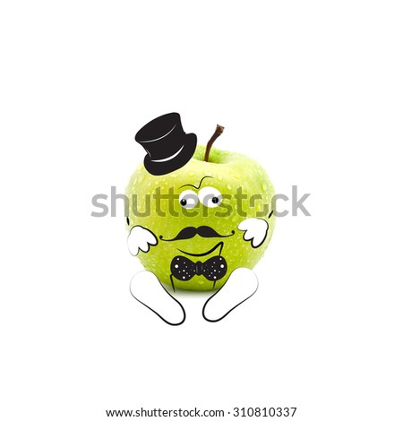 Apple in hipster style on the white  - stock photo