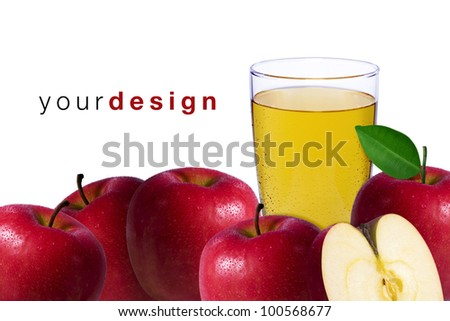Apple juice. Fresh ripe apples and glass jar of juice on table with linen tablecloth over white background - stock photo