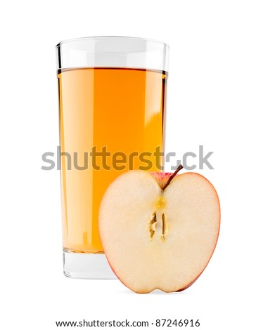 Apple juice on white background - stock photo
