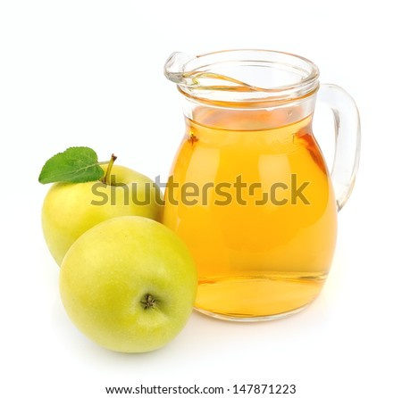 Apple juice on white background . Drink  - stock photo