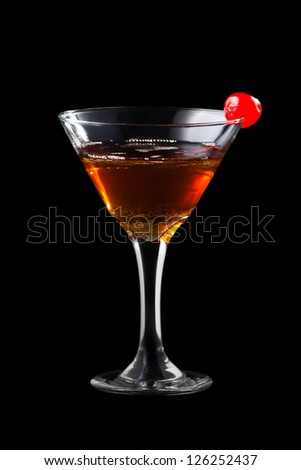 Apple manhattan coctail isolated on black background - stock photo