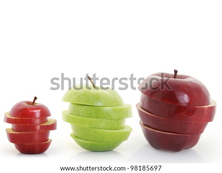 Apple, Mixed Fruit, white background - stock photo