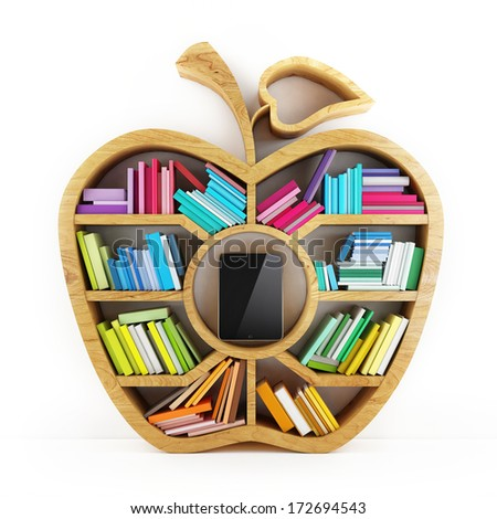 Apple of Knowledge, Wooden Shelf with Multicolor Books Isolated on White Background Tablet inside Shelf - stock photo