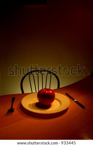 apple on plate - stock photo