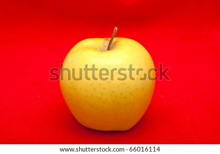 apple on red background - stock photo